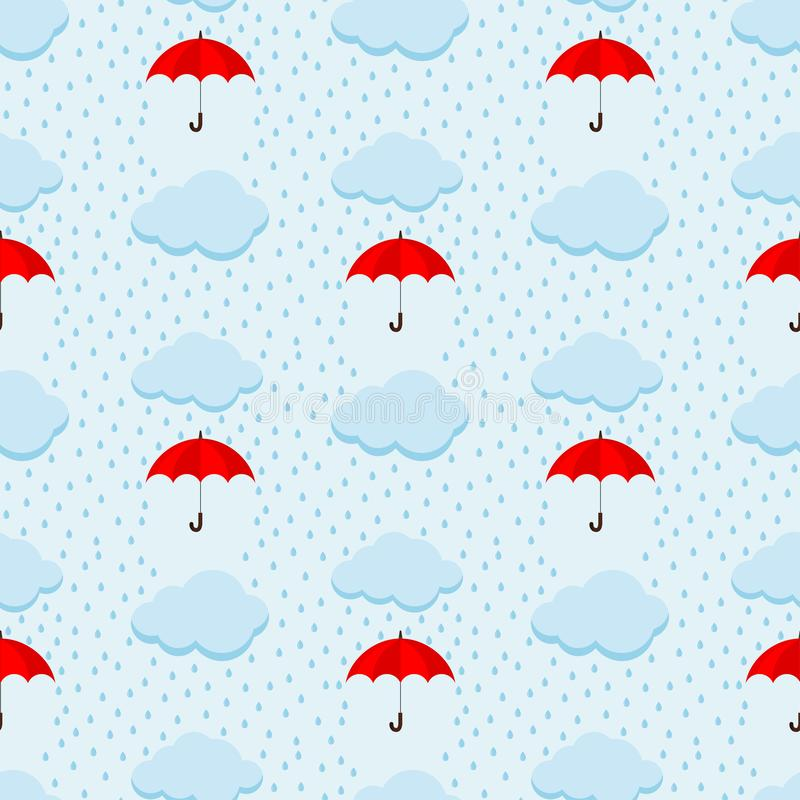 Modell för gullig vektor för himmel för regnig dag för sommar sömlös med fluffiga moln och det röda paraplyet på blå himmelbakgru stock illustrationer