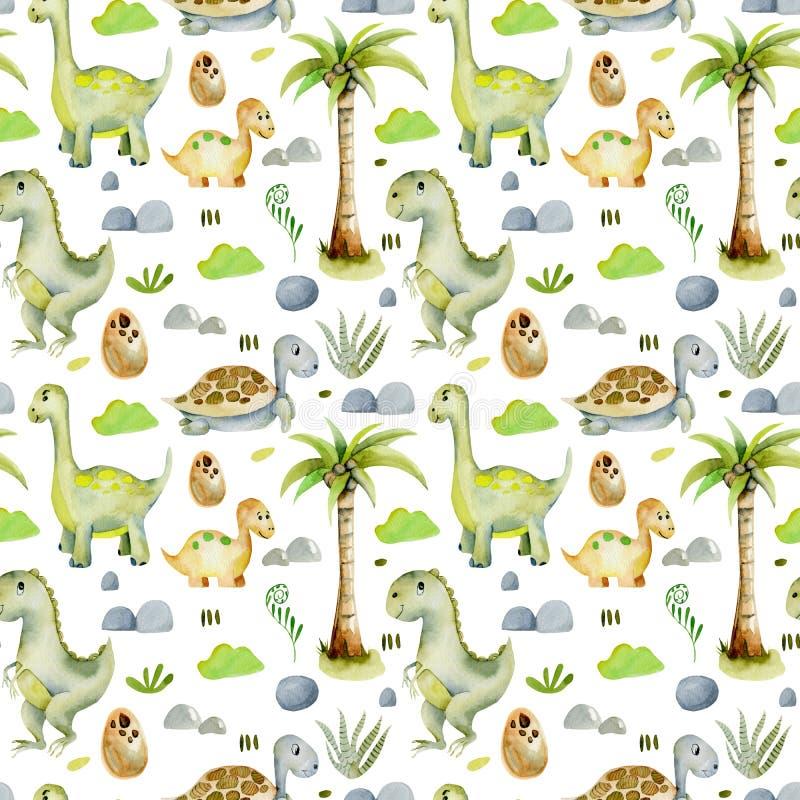 Modell för gulliga dinosaurier för vattenfärg sömlös och för förhistoriska sköldpaddor vektor illustrationer