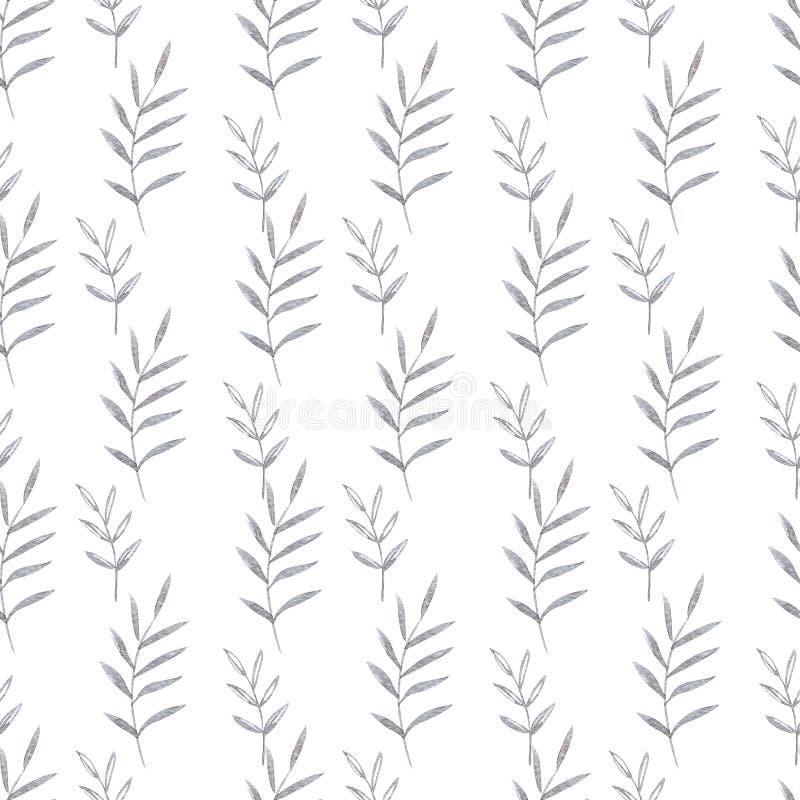 Modell för gulliga utsmyckade blommor för vattenfärg sömlös Illustration i dekorativ stil naturliga element Hand målat blom- stock illustrationer