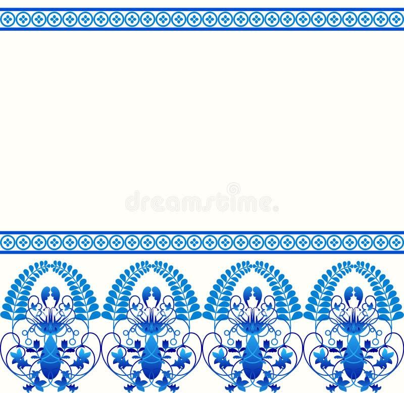 Modell för Gzhel stilgräns Blå porslinryss stock illustrationer