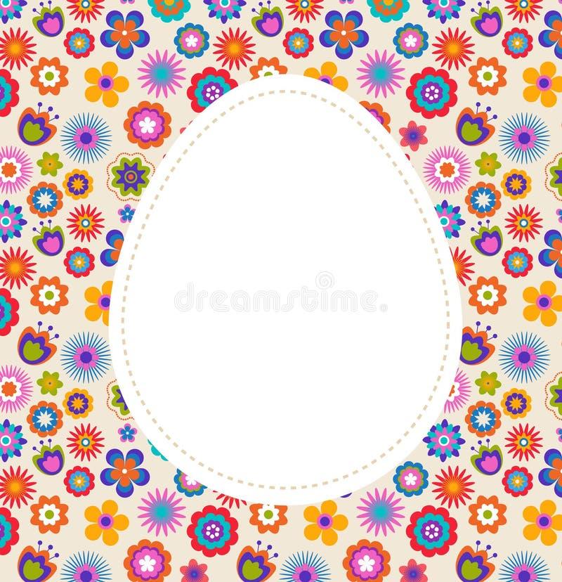 modell för hälsning för korteaster ägg blommig stock illustrationer