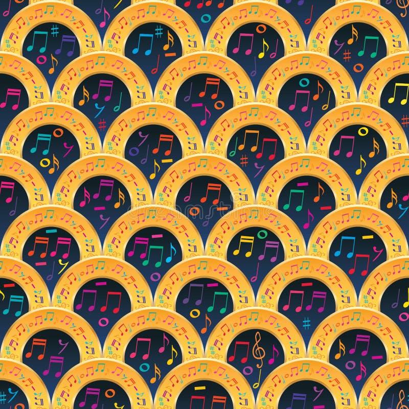 Modell för halv sång för cirkel för musikanmärkning sömlös guld- stock illustrationer