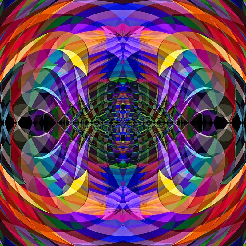 Modell för illusion för Digital målningabstrakt begrepp kaotisk krabb i vibrerande kosmisk bakgrund för pastellfärgade färger royaltyfri illustrationer