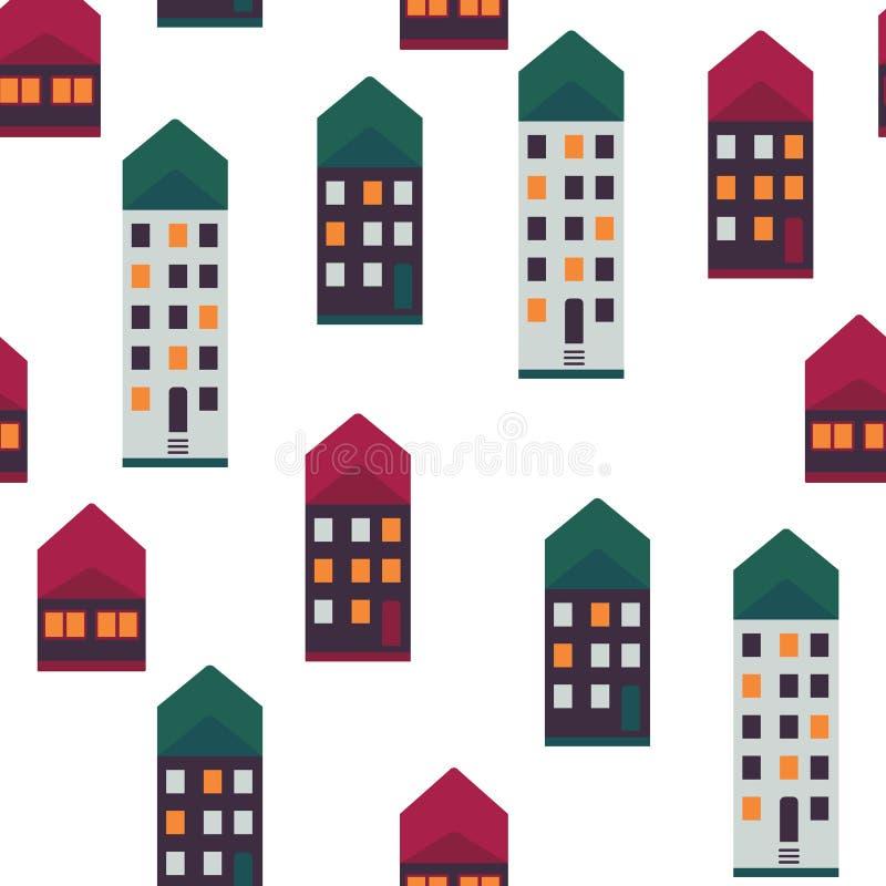 Modell för illustration för stadshusvektor sömlös med mång- våningshus med ljus i fönster och färgrika tak vektor illustrationer