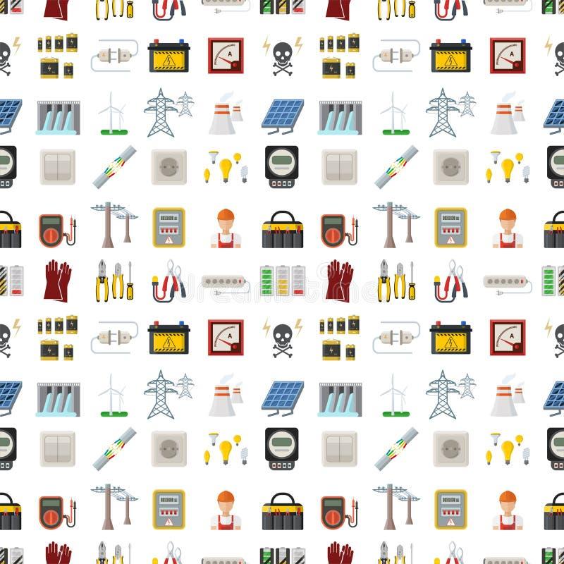 Modell för industriell för elektriker för illustration för vektor för batteri för energielektricitetsmakt sömlös för spänning tek vektor illustrationer