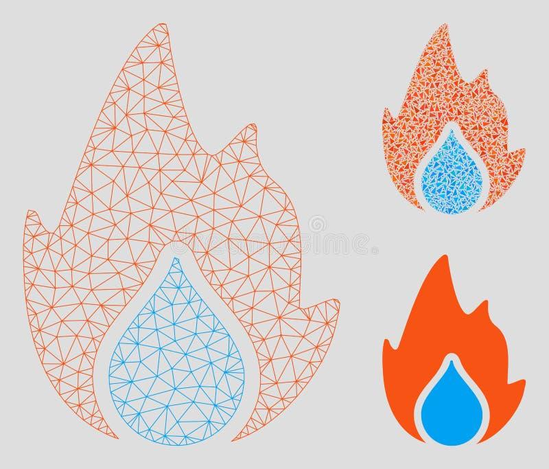 Modell för ingrepp för brand- och vattendroppvektor 2D och mosaisk symbol för triangel royaltyfri illustrationer