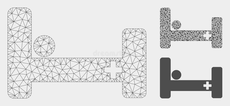 Modell för ingrepp för vektor för sjukhussäng 2D och mosaisk symbol för triangel royaltyfri illustrationer