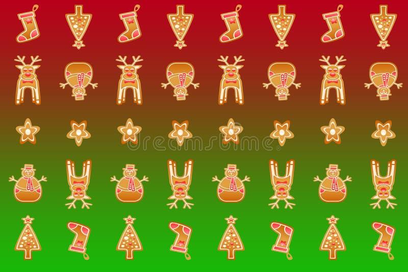 Modell för inpackning för julSanta Claus gåva pappers- på grön och röd lutningbakgrund vektor illustrationer