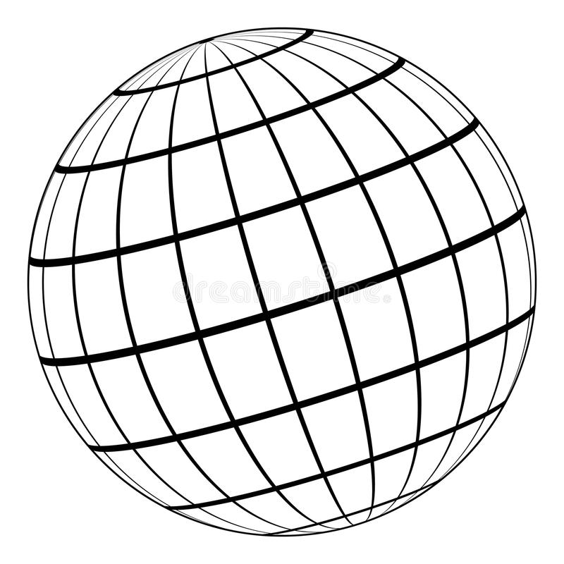 Modell för jordklot 3D av jorden eller planeten, modell av den himmelska sfären med koordinerat raster royaltyfri illustrationer