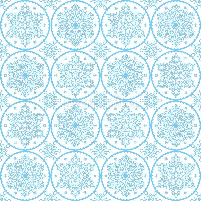 Modell för julvektorfolkkonst - sömlös design för blåa snöflingor, skandinavisk stilXmas-tapet, inpackningspapper eller textil vektor illustrationer