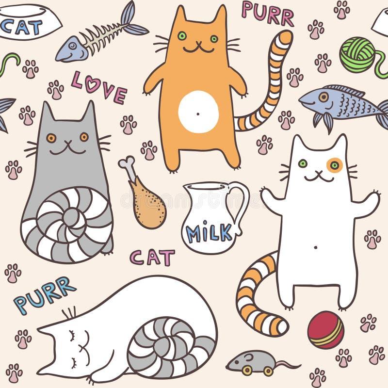 Modell för katter för Ð-¡ ute sömlös stock illustrationer