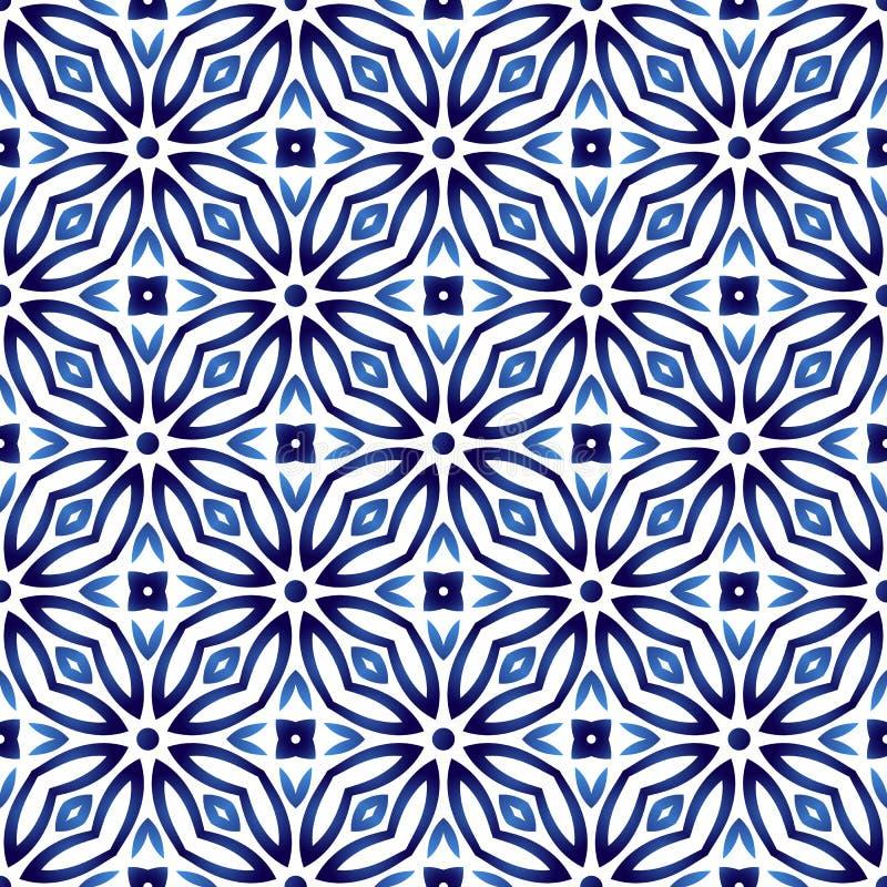 Modell för keramisk tegelplatta Islamiska, indiska arabiska motiv Damast hav royaltyfri illustrationer