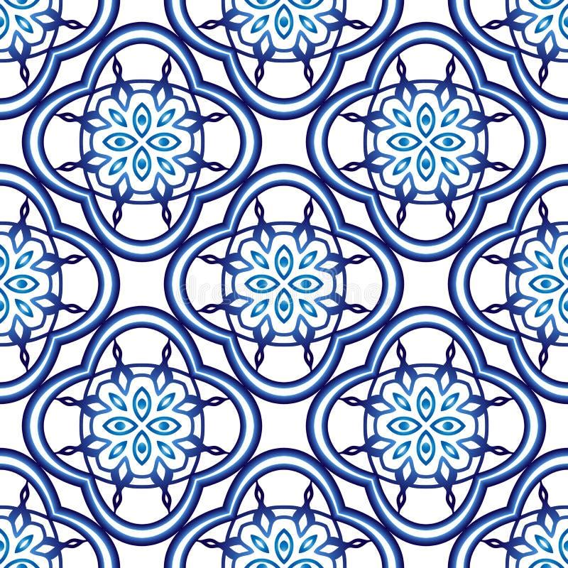 Modell för keramisk tegelplatta Islamiska, indiska arabiska motiv seamless damastast modell Etnisk bohemisk bakgrund för porslin  royaltyfri illustrationer