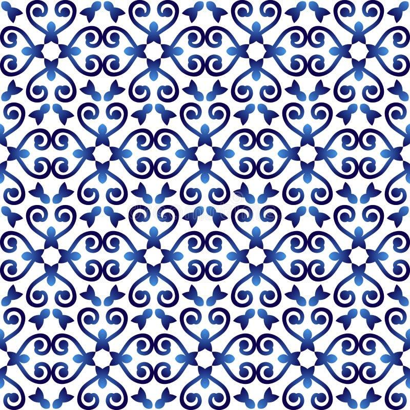 Modell för keramisk tegelplatta Islamiska, indiska arabiska motiv seamless damastast modell Etnisk bohemisk bakgrund för porslin  stock illustrationer