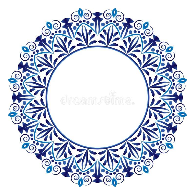 Modell för keramisk tegelplatta rund dekorativ prydnad Vit bakgrund med konstramen Islamiska, indiska arabiska motiv royaltyfri illustrationer