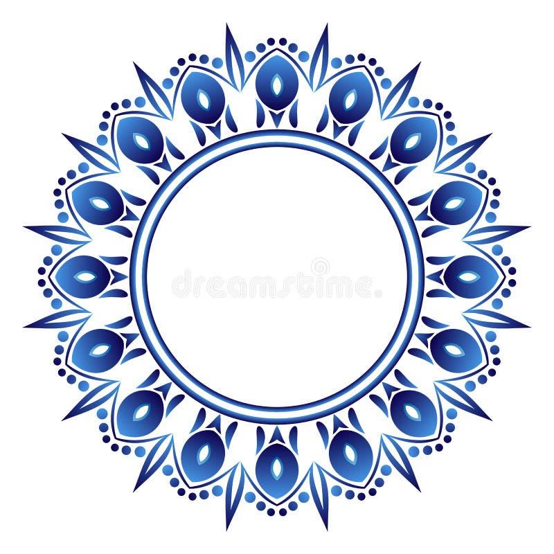 Modell för keramisk tegelplatta rund dekorativ prydnad Vit bakgrund med konstramen Islamiska, indiska arabiska motiv stock illustrationer