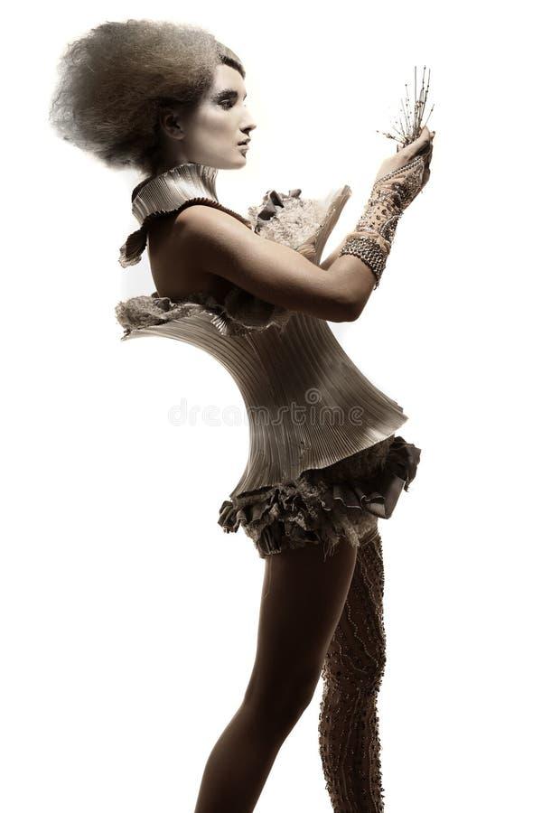 modell för klänninguttryckshår arkivbild
