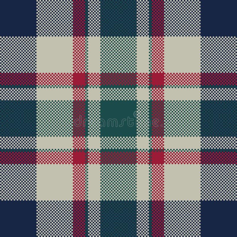 Modell för klassisk för PIXEL för tartanpläd sömlös textur för tyg stock illustrationer
