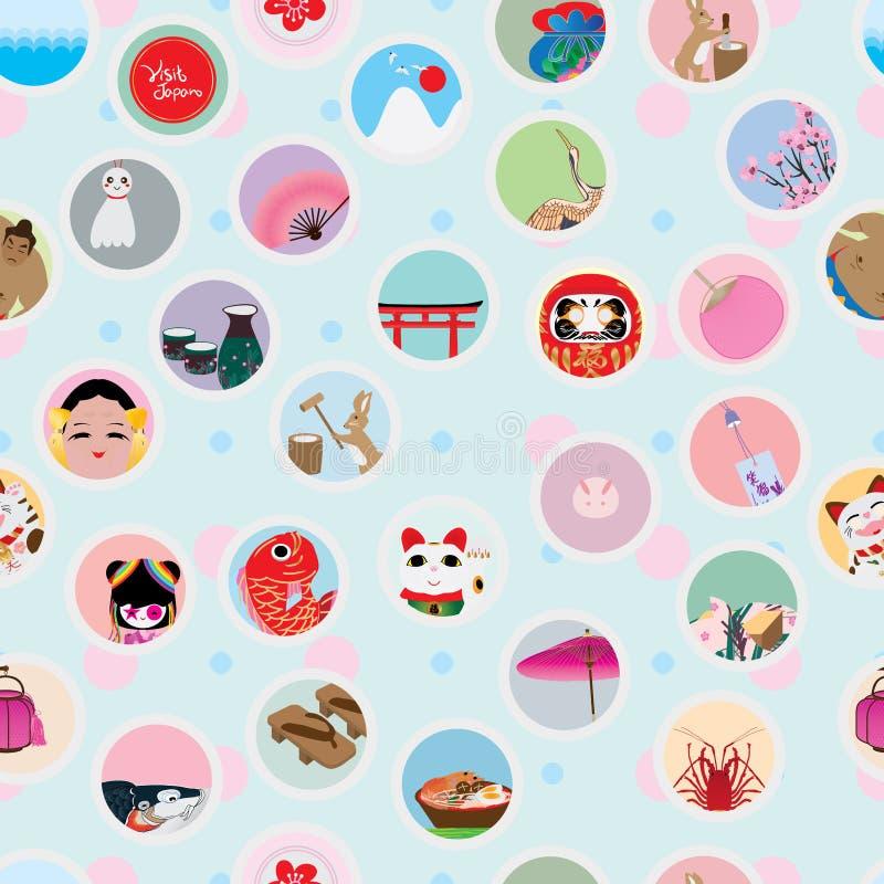 Modell för klistermärke för besökJapan cirkel sömlös stock illustrationer