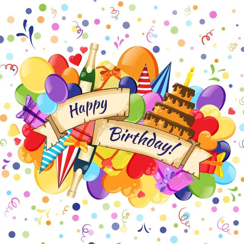 Modell för klotter för färgrik hand för vektor för tecknad film för lycklig födelsedag utdragen Företags identitet för ferie Affi royaltyfri illustrationer