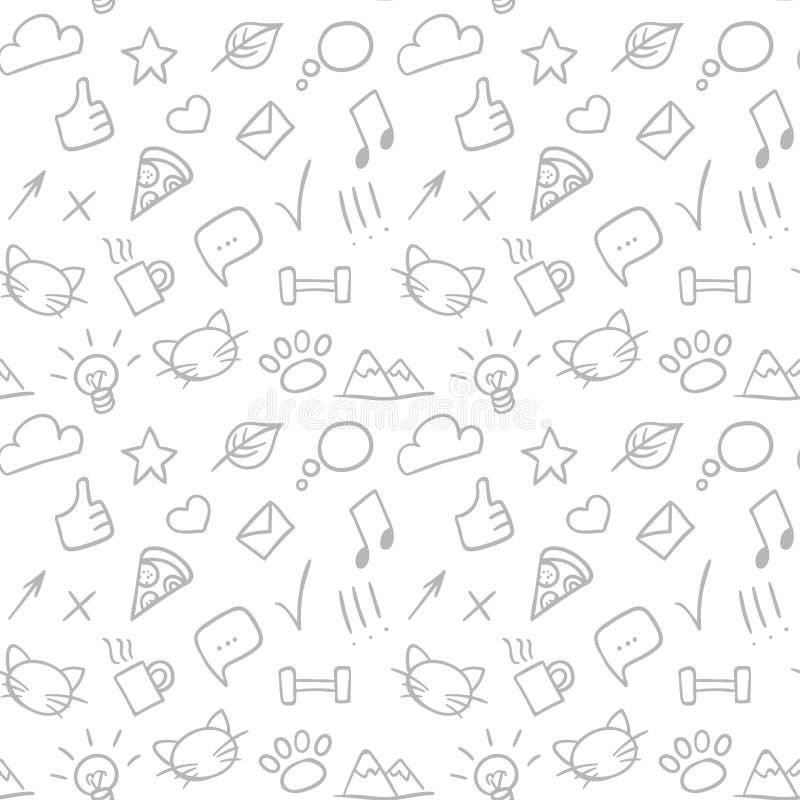 Modell för klotter för vektor sömlös dragen hand med sociala symboler stock illustrationer