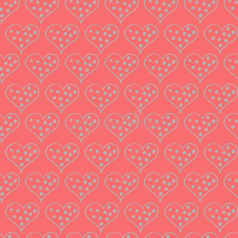 Modell för klotter för valentindaghjärtor sömlös Romantisk klistermärkesamling Hand dragen effektvektor royaltyfri foto