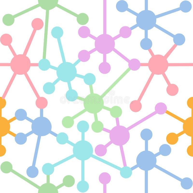 Modell för knutpunkter för nätverksanslutning seamless vektor illustrationer