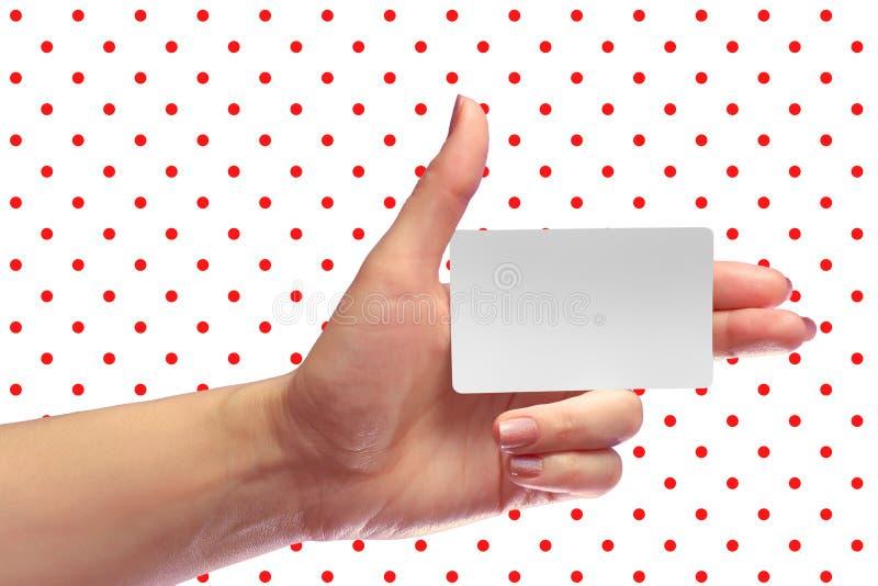 Modell för kort för vänstert kvinnligt handhållmellanrum vit SIM Cellular Pla arkivfoto