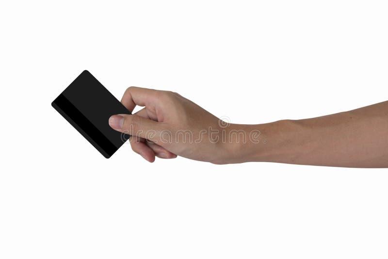 Modell för kreditkort för svart för mellanrum för innehav för hand för man` s med svartmag royaltyfri foto