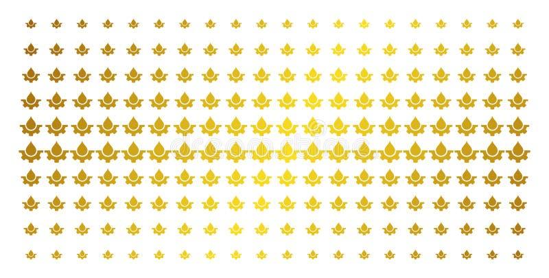 Modell för kugge för vattendroppservice guld- rastrerad royaltyfri illustrationer