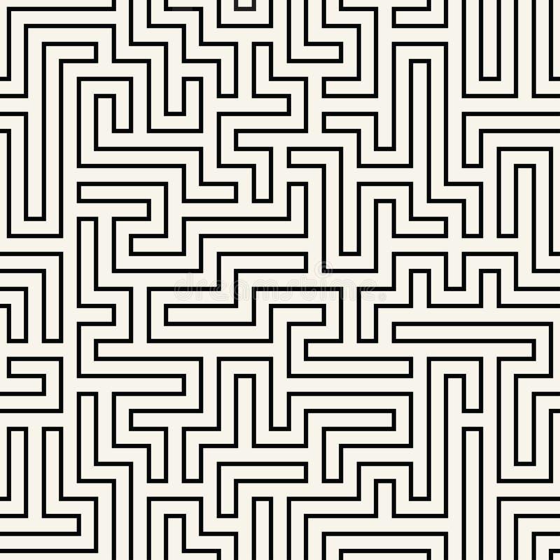 Modell för labyrint för geometri för abstrakt begrepp för vektordiagram svartvit sömlös geometrisk labyrintbakgrund vektor illustrationer