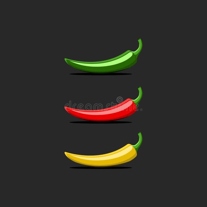 Modell för logo för peppar för varm chili, röd mexicansk jalapeno, grön gul färgvektoruppsättning som isoleras på svart bakgrund vektor illustrationer