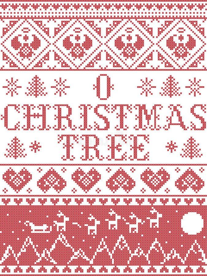 Modell för lovsång för julgran för julmodellnolla som sömlös inspireras vid festlig vinter för nordisk kultur i arg häftklammer m royaltyfri illustrationer