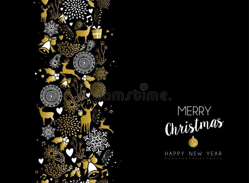 Modell för lyckligt nytt år för glad jul retro guld- royaltyfri illustrationer
