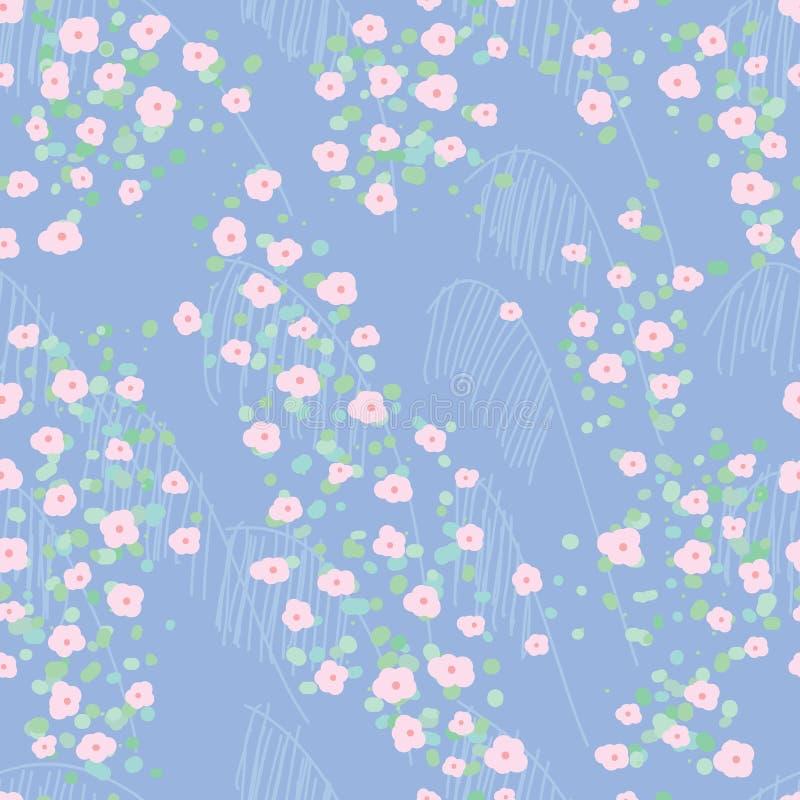 Modell för malt för blad för cirkel för blomma för Japan stilcirkel sömlös vektor illustrationer