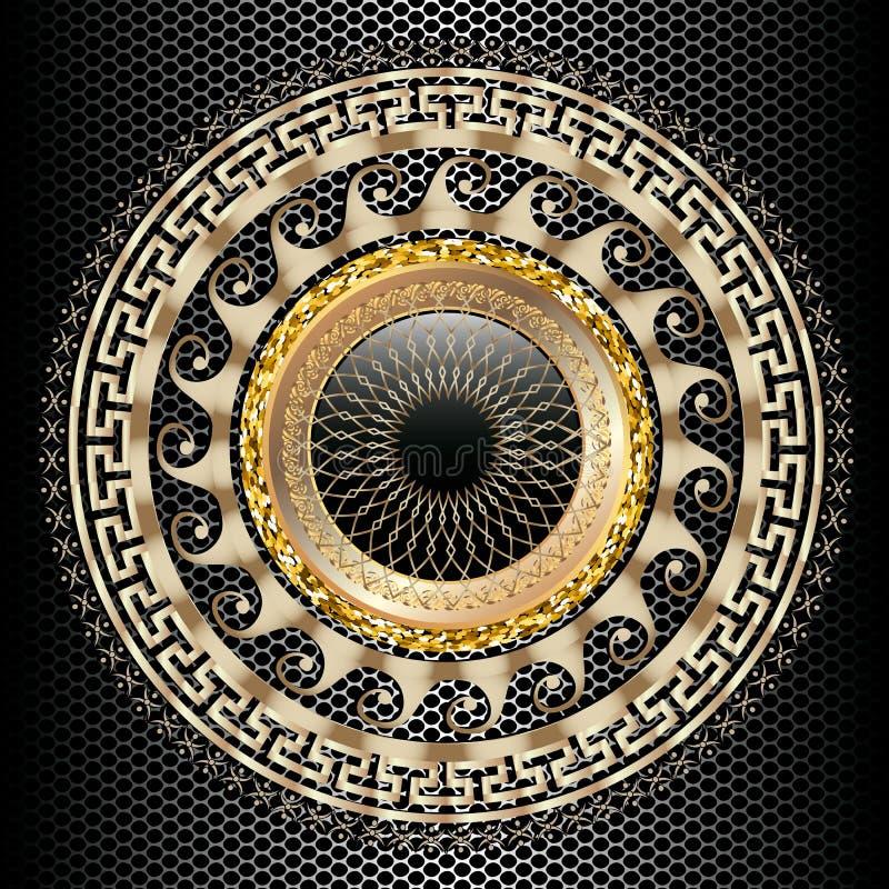 Modell för mandala 3d för grekisk nyckel- slingringar rund Dekorativ grecian bakgrund för ram för stilGrekland cirkel Modernt geo stock illustrationer