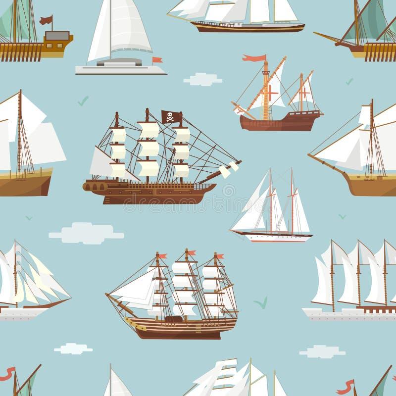 Modell för miniatyrför skyttel för vektorskeppfartyg sömlös gammal för tappning för segelbåt för souvenir för hav för sändnings c vektor illustrationer