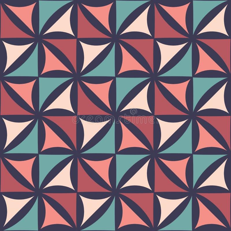 Modell för modern sömlös färgrik geometri för vektor blom-, abstrakt geometrisk bakgrund för färg royaltyfri illustrationer