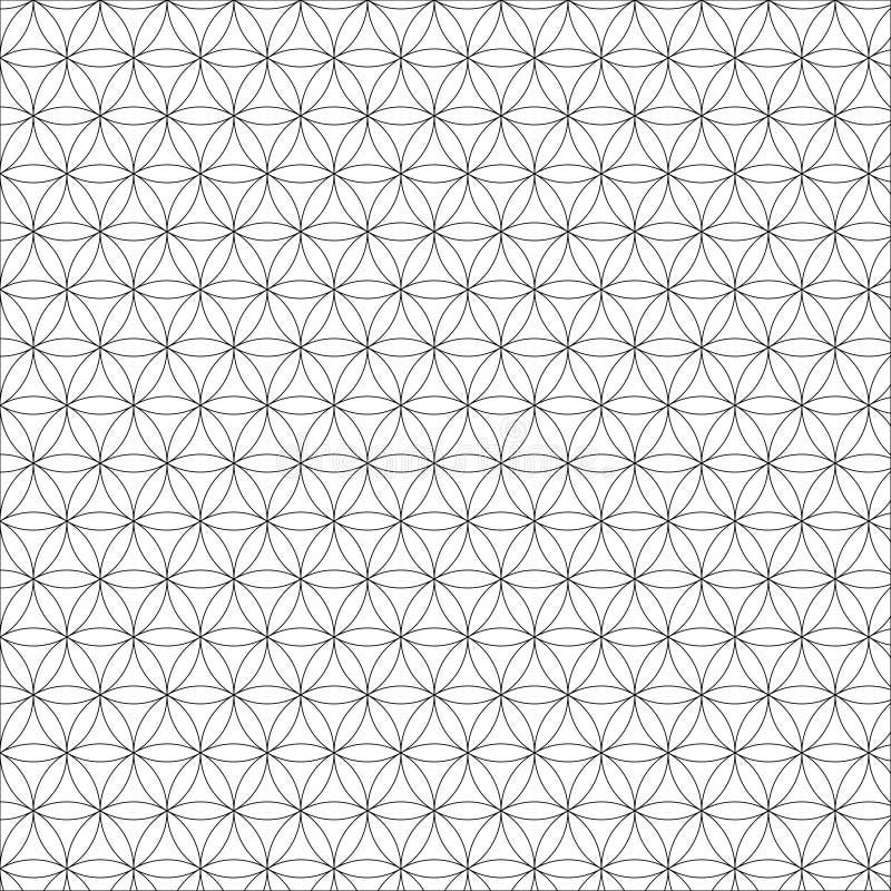 Modell för modern sakral geometri för vektor sömlös, blomma av liv, designabstrakt begrepptextur vektor illustrationer