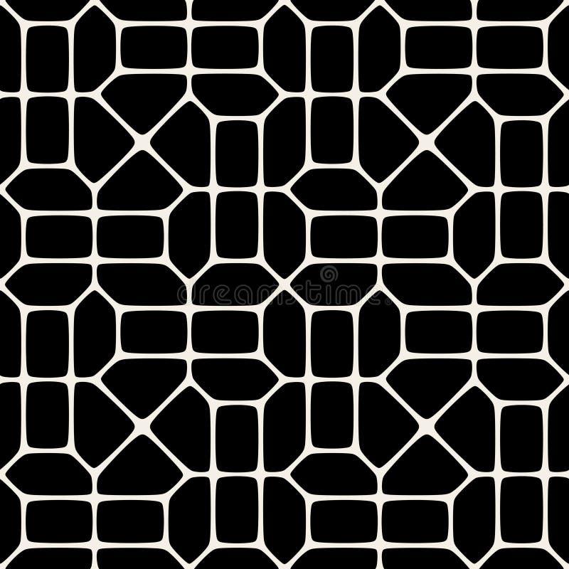 Modell för mosaisk trottoar för vektor sömlös svartvit vektor illustrationer