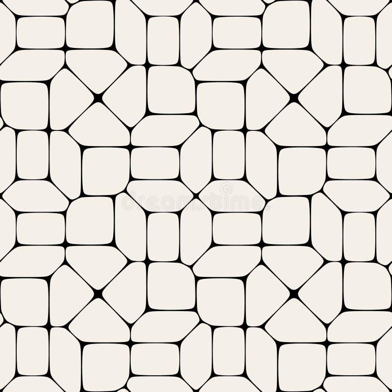 Modell för mosaisk trottoar för vektor sömlös svartvit royaltyfri illustrationer