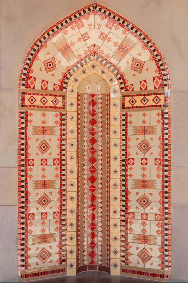 Modell för mosaiska tegelplattor på en vägg arkivbilder