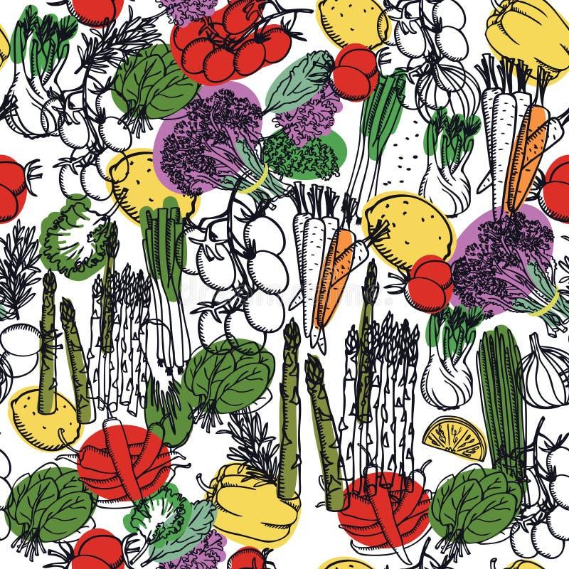 Modell för nya läckra grönsaker för matsamling sömlös royaltyfri illustrationer