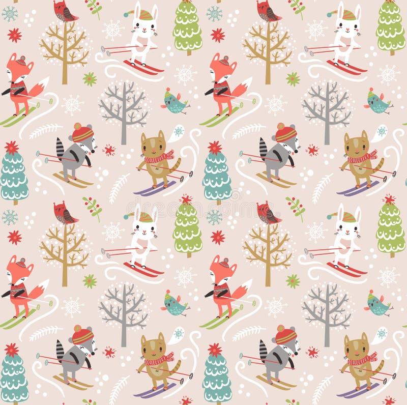Modell för nytt år för jul sömlös royaltyfri illustrationer
