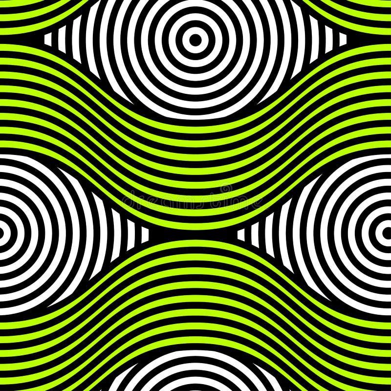 Modell för op konst för abstrakt vektor sömlös Färgrik diskoprydnad stock illustrationer