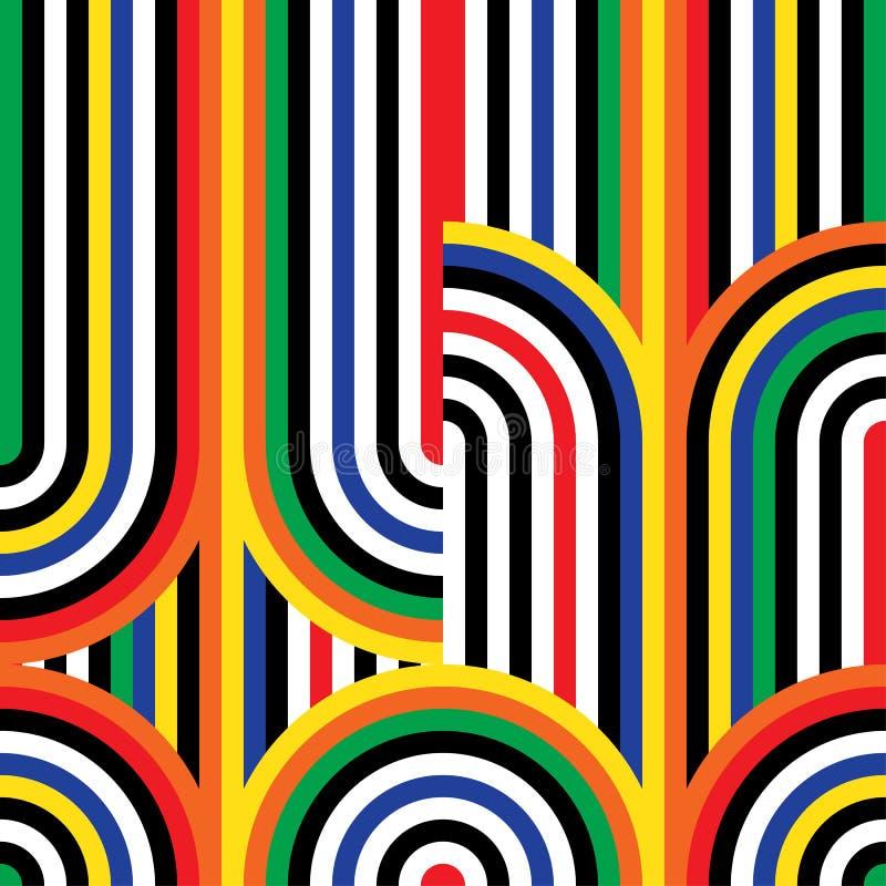 Modell för op konst för abstrakt vektor sömlös Färgrik diskoprydnad vektor illustrationer