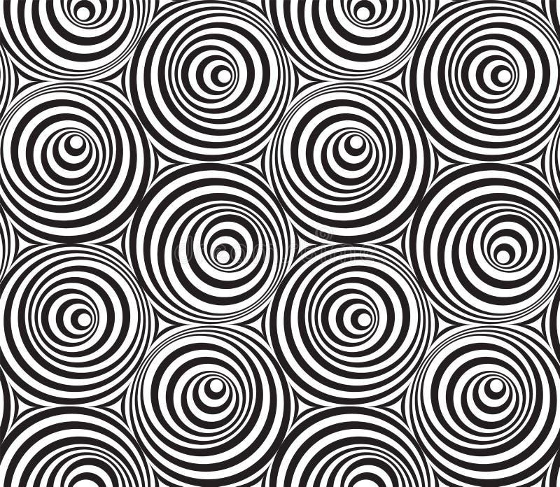 Modell för op konst för abstrakt vektor sömlös med cirklar monokrom stock illustrationer