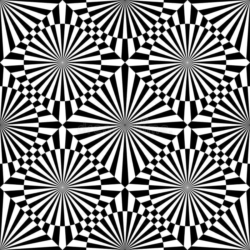 Modell för op konst för abstrakt vektor sömlös Monokrom grafisk svartvit prydnad Randig optisk illusion som upprepar textur stock illustrationer