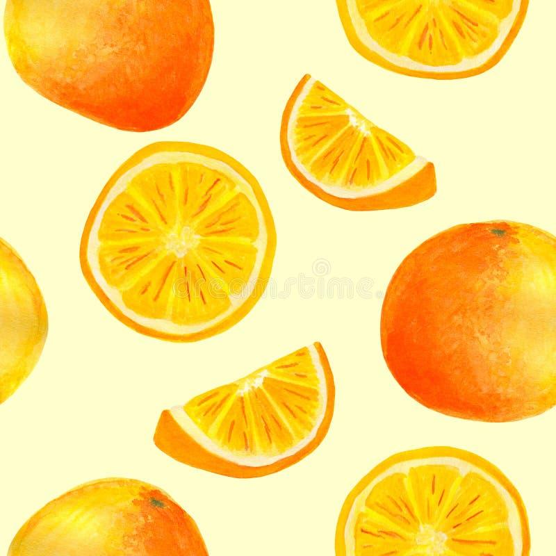 Modell för orange frukt för vattenfärg sömlös Handen målade citrusa skivor som isolerades på pastellfärgad gul bakgrund för mat stock illustrationer
