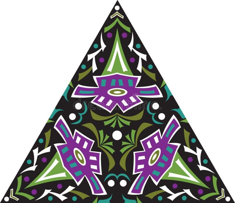 Modell för orientalisk traditionell blomma för vektor triangulär royaltyfri illustrationer